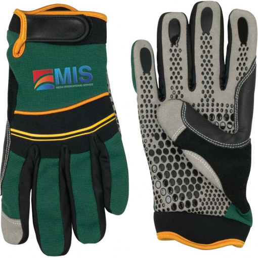 Sythetic Leather Palm Mechanic Glove - Green